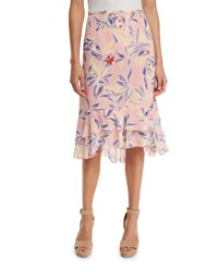See By Chloe Tiered Floral Silk Skirt Multicolor
