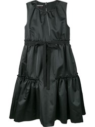 Rochas Bow Embellished Tiered Dress Black