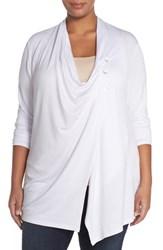 Plus Size Women's Sejour Terry Side Button Drape Neck Jacket White