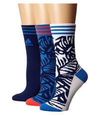Adidas Adipalm 3 Pack Crew Ray Blue Unity Ink Purple White Shock Red Women's Crew Cut Socks Shoes Black