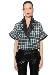 Ronald Van Der Kemp Checked Brushed Cotton And Leather Shirt