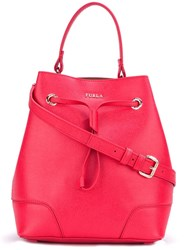 Furla Drawstring Bucket Tote Red