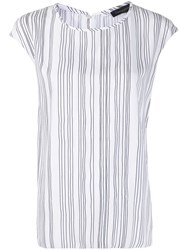 Piazza Sempione Striped Print Short Sleeved Blouse White
