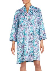 Miss Elaine Floral And Leopard Print Charmeuse Midi Robe Blue