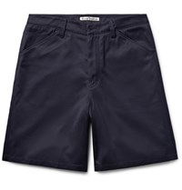Acne Studios Allan Wide Leg Cotton Blend Twill Shorts Navy