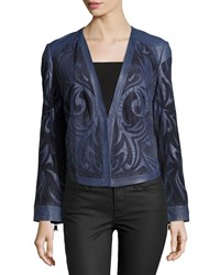 Haute Hippie Long Sleeve Embroidered Leather Jacket Midnight