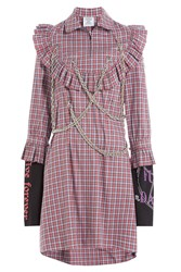 Vetements Printed Cotton Shirt Dress With Chain Embellishments Multicolor