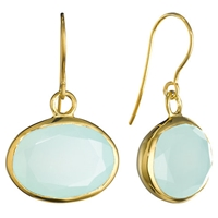 Pomegranate 18Ct Gold Vermeil Oval Stone Drop Earrings Aqua Chalcedony