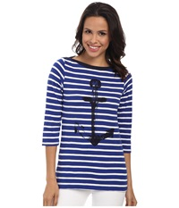 Hatley Bretton Tee Royal White Stripes Anchor Women's T Shirt Blue