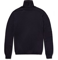 Boglioli Virgin Wool Rollneck Sweater Blue