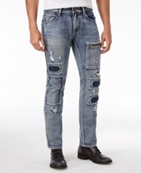 Inc International Concepts Slim Straight Jeans Only At Macy's Medium Patch Wash