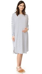 Hatch The Jersey Drape Dress Chambray Oat Stripe