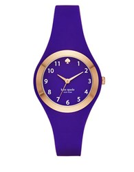 Kate Spade Fashion Rumsey Rose Goldtone Analog Silicone Strap Watch Cobalt Blue