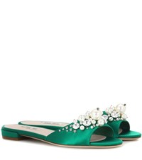 Miu Miu Embellished Satin Slip On Sandals Green
