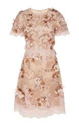 Marchesa Floral Embellished Cocktail Dress Pink