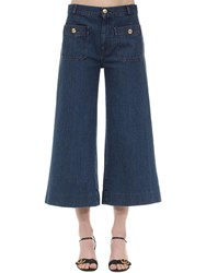 Gucci Cropped Cotton Denim Wide Leg Pants