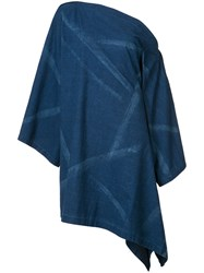 Yohji Yamamoto Asymmetric Denim Dress Women Cotton 1 Blue