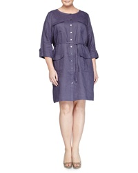 Go Silk Linen Military Shirtdress Navy