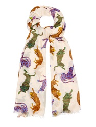 Stella Mccartney Wild Cats And Psychedelic Garden Print Scarf