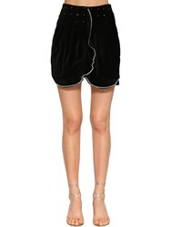 Isabel Marant Queeny Embellished Velvet Mini Skirt Black