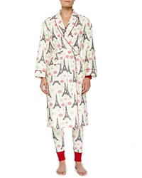 Bedhead Holiday Eiffel Tower Print Flannel Robe