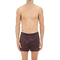 Hanro Men's Striped Cotton Jersey Boxers Burgundy No Color Burgundy No Color