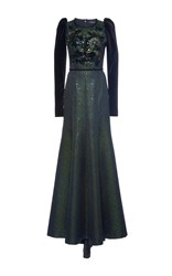 Andrew Gn Long Sleeve Embellished Gown Green