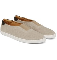 Want Les Essentiels Tesla Leather Trimmed Organic Cotton Canvas Sneakers Beige