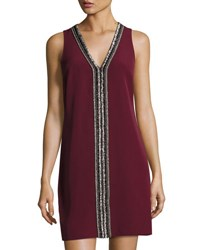Laundry By Shelli Segal Beaded Trim V Neck Sleeveless Shift Dress Maroon
