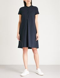The White Company Collarless Cotton Jersey Dress Navy