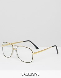 Reclaimed Vintage Aviator Glasses Black