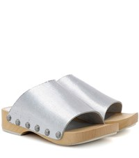 Opening Ceremony Nykola Metallic Leather Clogs Silver