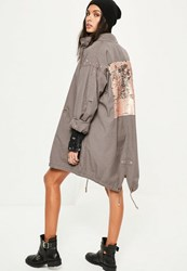 Missguided Grey Sequin Back Oversized Parka Coat