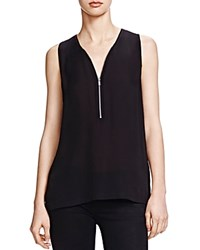 The Kooples Half Zip Silk Tank Black