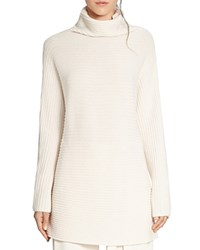Halston Heritage Turtleneck Rib Knit Sweater Chalk