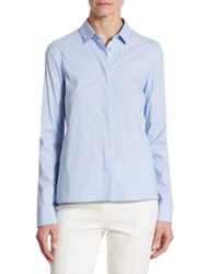 Akris Punto Perforated Cotton Button Down Blouse Light Denim