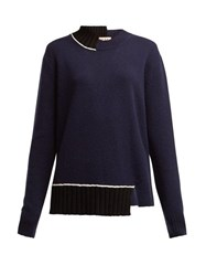 Marni Contrast Panel Wool Blend Sweater Navy Multi