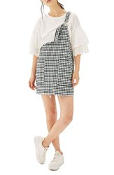 Topshop Petite Women's Raw Hem Gingham Pinafore Dress Black Multi