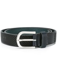 Dondup Striped Belt Black
