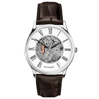 Sekonda 1202.00 Men's Skeleton Leather Strap Watch Brown White