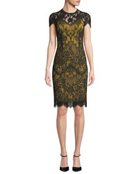 Catherine Deane Libba Cap Sleeve Lace Dress Black Yellow