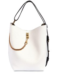 Givenchy Gv Grained Leather Bucket Bag White