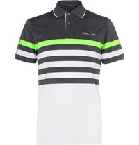 Rlx Ralph Lauren Striped Stretch Jersey Golf Polo Shirt Gray