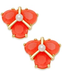 Kate Spade New York Gold Tone Color Stone And Imitation Pearl Cluster Stud Earrings Coral