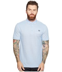 Fred Perry Woven Trim Pique Shirt Light Smoke Oxford 1 Men's Short Sleeve Knit Blue