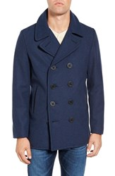 Schott Nyc Men's Slim Fit Wool Blend Peacoat