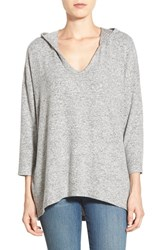 Women's Bobeau High Low Lightweight Pullover Hoodie Light Heather Grey