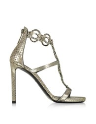 Roberto Cavalli Laminated Python Silver Sandal W Crystals