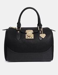 Marc B Structured Bowler Bag With Snake Trim Detail