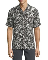 Ovadia And Sons Camp Leopard Print Short Sleeve Shirt Black White Leopa